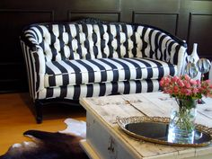 Striped Tufted Sofa/Love Seat by twentynineten on Etsy, $2500.00
