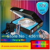 Wholesale Free shipping Fine package RGB 5050SMD 12V 14.4W 5M led strips+1pcs 44Key Remote+ IR Receiver Box+5A Power Supply