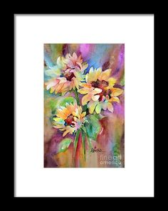 Three Sunflowers Framed Print by Wendy Westlake.  All framed prints are professionally printed, framed, assembled, and shipped within 3 - 4 business days and delivered ready-to-hang on your wall. Choose from multiple print sizes and hundreds of frame and mat options.
