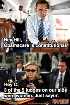 Hillary texts the President about Healthcare reform. There's a bunch more here: http://upwr.me/PinHillary