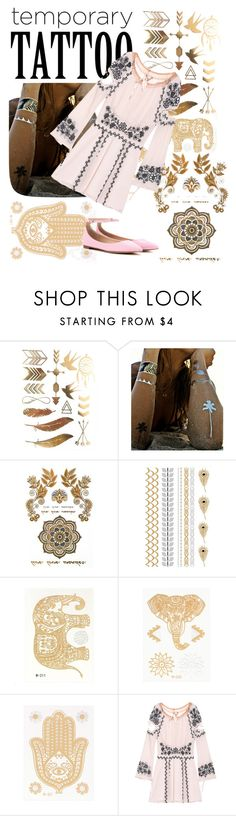 """Late to Coachella"" by martinafashionmaniac ❤ liked on Polyvore featuring beauty, Flash Tattoos, For Love & Lemons, Gianvito Rossi and temporarytattoo"
