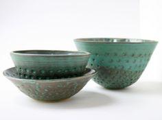 Hand-pressed ceramic bowls by Robert Boyer #rdboyer #ceramics