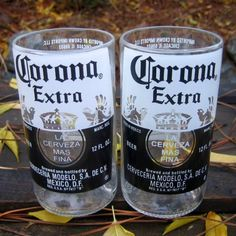 Two Corona Extra Juice Glasses // Recycled Glass by bottlehood, $18.00