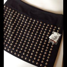 """Candie's Black Mini Skirt w/ Silver Studs Super trendy! Skirt measures approx 14"""" length. Candie's Skirts Mini"""