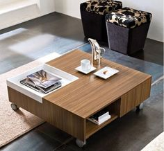 contemporary coffee table with casters ROY by Gerald Brandstätter Domitalia
