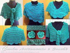 Carla Artesanato: Xale Gitane em crochet Pretty crochet shawl with chain loop edging!