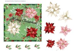 Christmas Bouquet by Eliza Brown A quick card to make, just decoupage the flowers. Across the middle of the design it says Merry Christmas:…