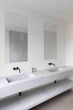 Carrelage De Salle Bain En Marbre Blanc Et Meuble Vasque Bains Avec