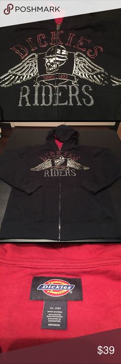 Dickies riders black hooded jacket XL men's black Dickies riders since 1922 hooded jacket color block inside is red size XL. Men's. Pre-loved in good condition.  Check out my closet, we have a variety of Victoria Secret, Bath and Body Works, handbags purse Aerosoles, shoes fashion jewelry, women's clothing, Beauty products, home decors & more...  Ships via USPS.  Always a FREE GIFT with every purchase!!! Thank you. Dickies Jackets & Coats Lightweight & Shirt Jackets