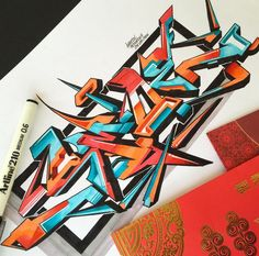Graffiti Letter : Amazing Sketches 3D Wildstyle Graffiti Alphabet Letter With…