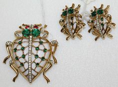 Trifari stylized Insect Jewelry Set