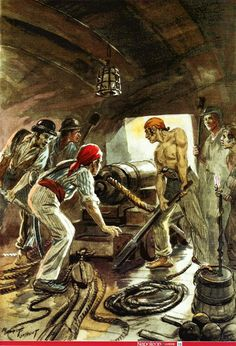 Royal Navy gunners in action: Pirate Decor, Pirate Art, Pirate Life, Master And Commander, Old Sailing Ships, Man Of War, Ship Paintings, Naval History, Black Sails