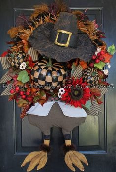 """Mr. Gobble Gobble"" Turkey with Prim-tique Checkerboard© Pumpkins-Thanksgiving Wreath-Hat n' Boots Collection©"