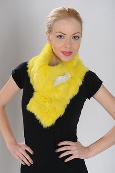 Yellow scarf of rabbit fur, patchwork. Available for wholesale orders.