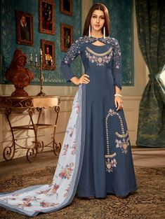 Blue Muslin Digital Print Ceremony A-Line Gown Indian Designer Outfits, Designer Gowns, Indian Outfits, Designer Anarkali, Latest Gown Design, Gown Dress Online, Gown Party Wear, Stylish Gown, Embroidery Suits Design