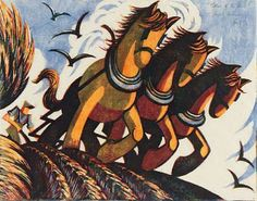 ✨ Sybil Andrews, British (1898-1992) - Tillers of the Soil, 1934, Original Colour Lino Cut, signed /// Sybil Andrews was a painter and lino-cut artist. She lived in London and Woolpit in Suffolk and was part of the Grosvenor School of Art founded in 1925.