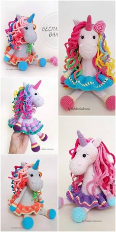 In this article we will share amigurumi rainbow amigurumi free crochet pattern. You can find everything you want about Amigurumi. Crochet Unicorn Pattern Free, Crochet Horse, Crochet Amigurumi Free Patterns, Free Crochet, Crochet Dolls, Crochet Baby, Rainbow Crochet, Rainbow Unicorn, Lana
