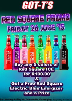 RED SQUARE PROMO: Friday 26 June at GOT-T'S with Sexy Promo Girls between 10PM and 12PM. Buy any 5 Red Square Ice in a Bucket for only R100.00 and receive a FREE Red Square Electric Blue and a Fabulous Prize.  +18 Only  Cnr. Houtkop & King Street, Duncanville, Vereeniging  #redsquare #redsquareice #redsquareelectricblue #electricblue #promo #redsquarepromo #free #prizes #promogirls #fridayspecial #gotts #vereeniging #fun #party #weekend #weekendfun #special #partytime #drinks #djs #dance… Red Purple, Red Green, Club Dance Music, Slush Puppy, Promo Girls, Weekend Fun, Electric Blue, Green And Gold, Red Color