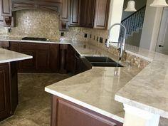 Taj Mahal Quartzite Countertops With Koehler Faucet And Farmhouse Stainless Steel Sink Granite Colors