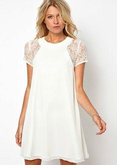 Vestido gasa combinado encaje manga corta-Blanco EUR€25.41