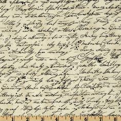 Timeless Treasures Library Script Cream