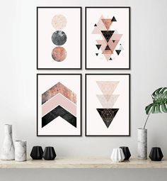 Set of 4 downloadable geometric prints in blush pink rose gold black grey Printable Art Set Poster Scandinavian Wall Art Pink Bedroom Decor THESE ARE INSTANT DOWNLOADS – Your files will be available instantly after purchase. Please note that this is a digital download ONLY, no