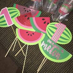 Items similar to One In A Melon Birthday Center Pieces - One In A Melon Center Pieces Watermelon Birthday Decorations Party Decorations Happy First Birthday on Etsy Diy 1st Birthday Party, First Birthday Centerpieces, Watermelon Birthday Parties, Fruit Birthday, Happy First Birthday, Fruit Party, 1st Birthday Girls, First Birthdays, Party Centerpieces