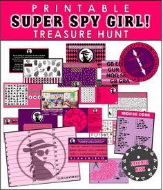 """Skattejagt for spioner / """"pigeudgave"""". (Fås også i """"drengeudgave""""). Har 10 poster, hver findes i to sværhedsgrader. Kan foregå hvorsomhelst. Instant download til at printe og med vejledning. Koster knap 100,-"""