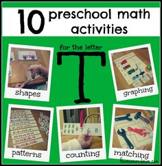10 #preschool #math activities for the #letter T - the measured mom
