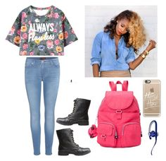 """""""School Outfit"""" by natalianunez-1 ❤ liked on Polyvore featuring Casetify, Kipling, Beats by Dr. Dre, 7 For All Mankind and Charlotte Russe"""