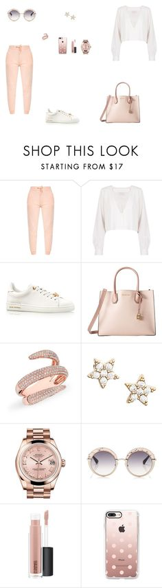 """Look do Dia"" by julianaf121 ❤ liked on Polyvore featuring Stone_Cold_Fox, MICHAEL Michael Kors, Anne Sisteron, Estella Bartlett, Rolex, Gotha, MAC Cosmetics and Casetify"