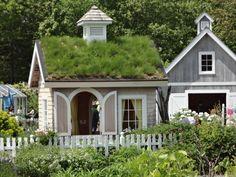 Grass roof playhouse.