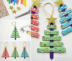 Glittering Popsicle Stick Christmas Trees ~ Kid's Christmas Crafts by Dollar Store Crafter Stick Christmas Tree, Dollar Store Christmas, Christmas Crafts For Kids, Diy Christmas Ornaments, Homemade Christmas, Holiday Crafts, Santa Crafts, Christmas Christmas, Christmas Decorations