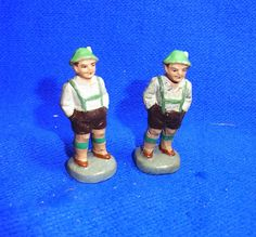 2 Vintage German Bavarian Plaster Man Figurines #BX