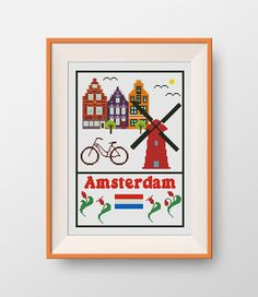 Amsterdam cross stitch pattern, Instant Download, PDF, Little Amsterdam, P045 by NataliNeedlework on Etsy