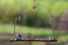Hummingbird Swing with Purple Rose by MothsNest on Etsy, $16.00