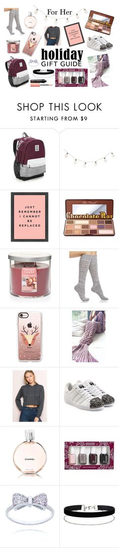 """""""Holiday Guft Guide For Women"""" by eleni-degreve ❤ liked on Polyvore featuring Victoria's Secret, Too Faced Cosmetics, Yankee Candle, Legale, Casetify, adidas Originals, Chanel, Essie, Miss Selfridge and Benefit"""