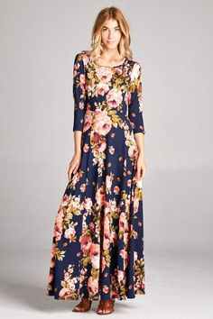 "- 96% Polyester/4% Spandex - 3/4 Length Sleeves with Keyhole Back - A-line Fit Maxi - Approximately 56"" in length - Bust (unstretched) measures: small-32"", medium-34"", large-36"" - Waist measures: smal"