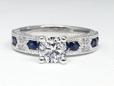 Engagement Ring -Cushion Cut Diamond Vintage Engagement Ring Blue-Sapphire Accents-ES739CU
