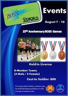 Come and see us at Camp Darby for the olympic-style BOSS Games from August 7-10!