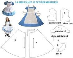 THEME THEME Alice in wonderland-dress (lots of Alice in wonderland printables here) The post THEME appeared first on New Ideas. Doll Clothes Patterns, Doll Patterns, Clothing Patterns, Dress Patterns, Alice In Wonderland Printables, Alice In Wonderland Costume, Cosplay Tutorial, Cosplay Diy, Alice Costume