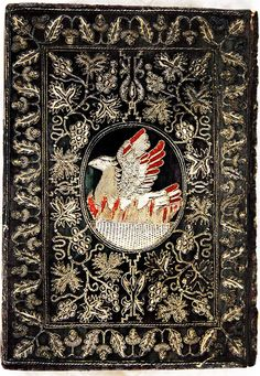 For the love of Books...Phoenix in flames from back board of embroidered binding of Holy Bible and Book of Common Prayer, Cambridge, 1629.