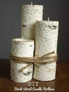 Deko-Kerzenhalter selber machen, Bastelidee mit Holz, DIY rustikale Wohndeko basteln
