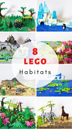 Complete animal habitat projects while playing with LEGO bricks. A fun and educational LEGO idea! Animal Activities For Kids, Lego Activities, Lego Games, Lego Zoo, Animal Habitats, Lego Mosaic, Lego Animals, Lego Brick, Lego Club