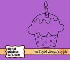 free digital stamp cupcake