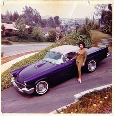 Annette with her custom painted purple 1957 Thunderbird, around 1963.