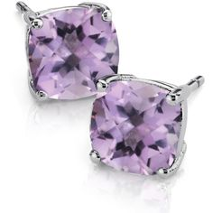 Blue Nile Lavender Amethyst Cushion Earrings in Sterling Silver (8mm) ($95) ❤ liked on Polyvore