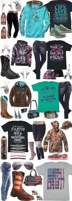 The 10 most popular outfits from Real Country Ladies. Outfits include shirts, hoodies, jeans, boots, purses, jewelry, and more...
