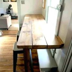 The Catchy Wall Bar Table with Dim Did It Myself Kitchen Facelift Wooden Bar Table Wooden is one of pictures of furniture design ideas for your home. New Kitchen, Kitchen Decor, Kitchen Small, Kitchen Corner, Small Kitchens, Kitchen Ideas, Kitchen Wood, Kitchen Window Bar, Kitchen Windows