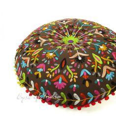 "24"" Brown Round Floral Floor Pillow Cushion Cover with Embroidered Patchwork"